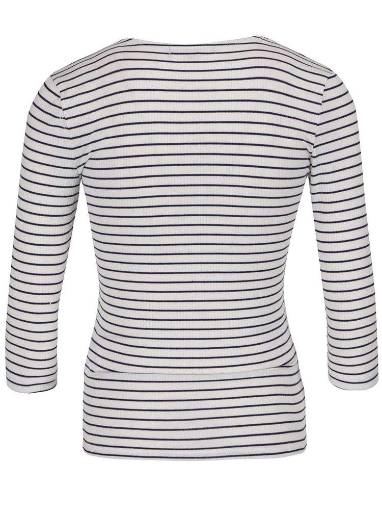 Krémové pruhované tričko s překládaným výstřihem TALLY WEiJL