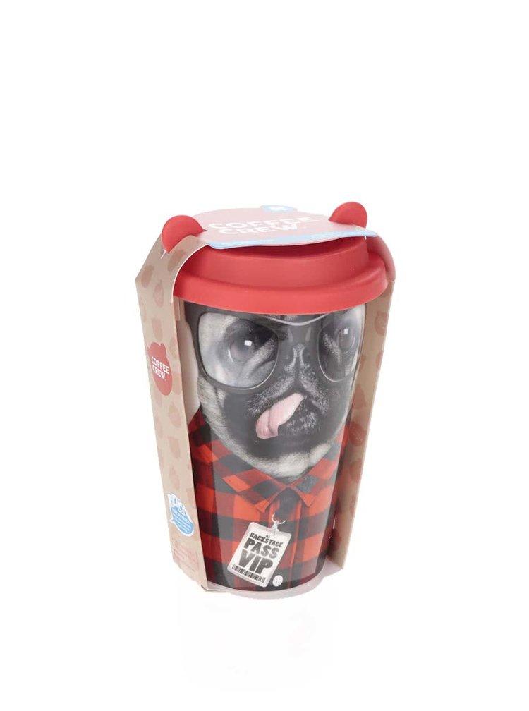 Porcelánový cestovní hrnek se psem 350 ml Mustard