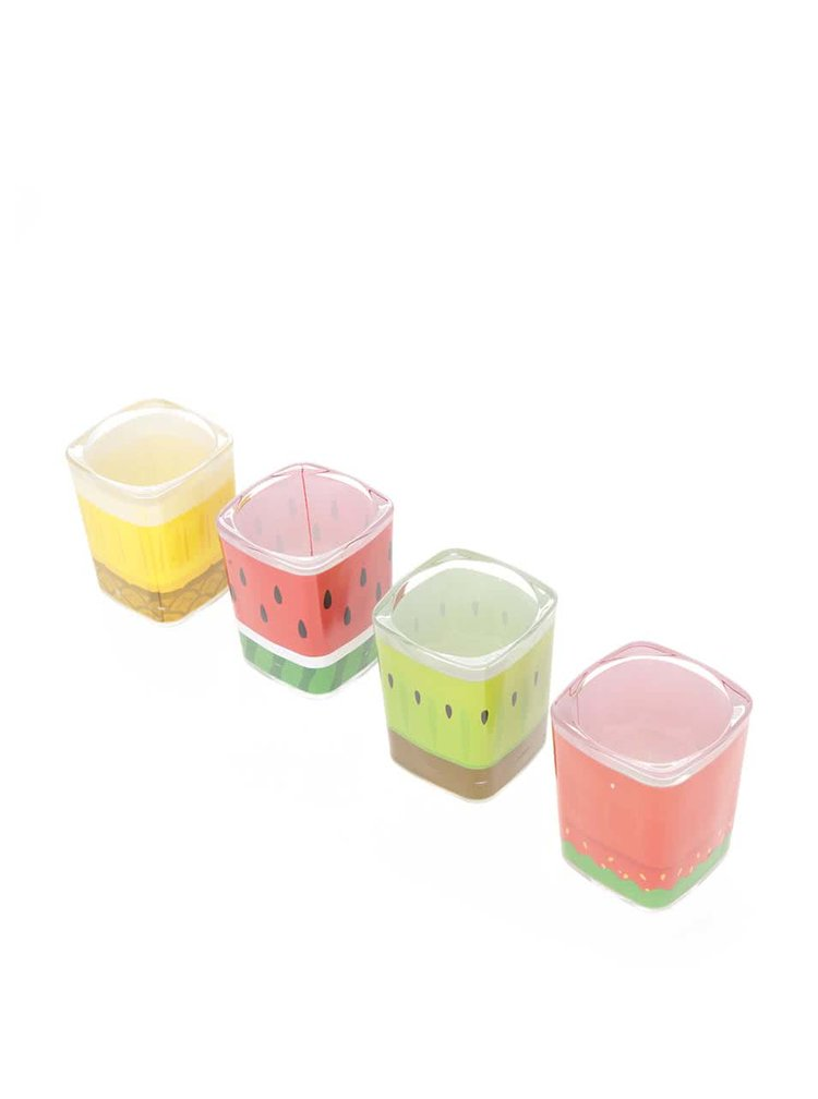 Sada čtyř panákových skleniček s potiskem ovoce Mustard