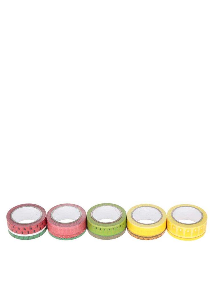 Sada pěti barevných lepících pásek s potiskem ovoce Mustard