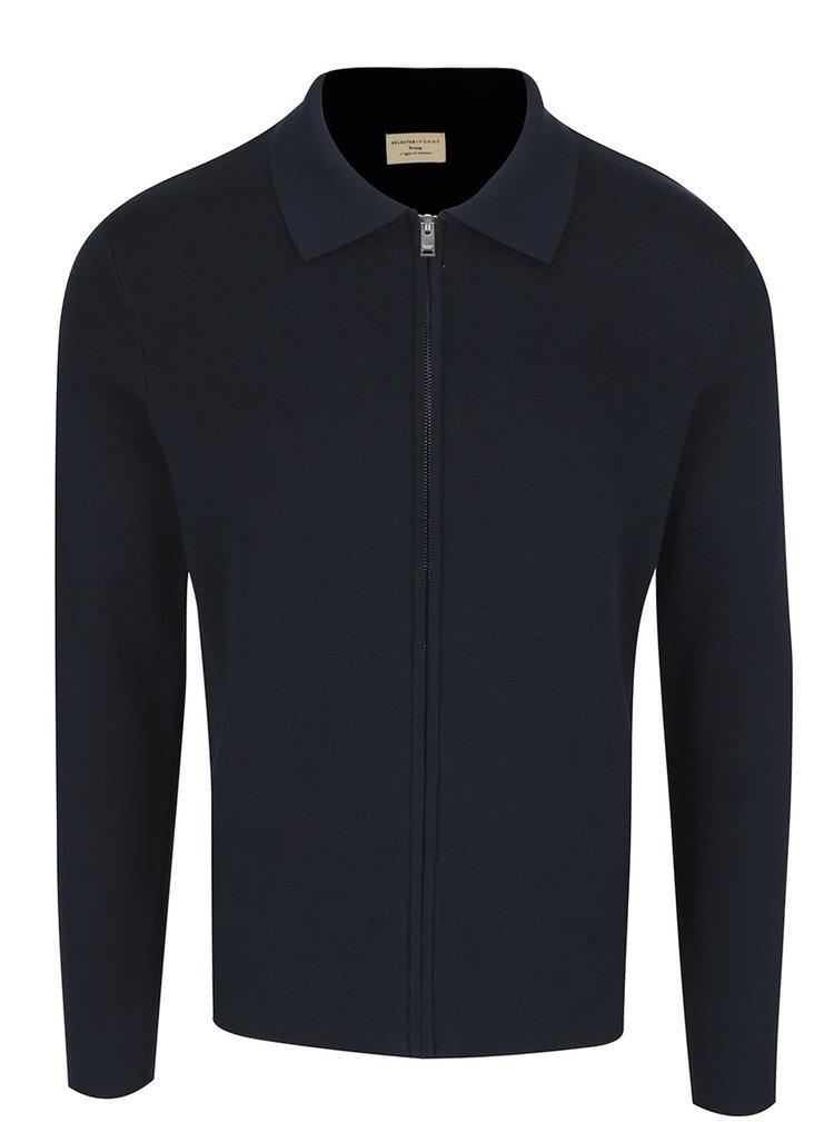 Tmavě modrý cardigan na zip Selected Homme Jakob