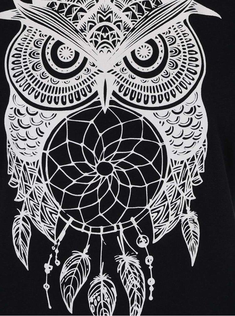 Černé triko s potiskem sovy Haily's Selina