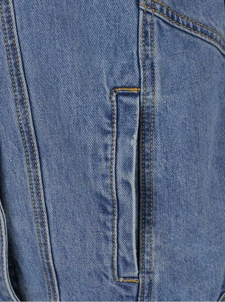 Jacheta albastra Haily's Lavie din denim cu aspect uzat si aplicatii