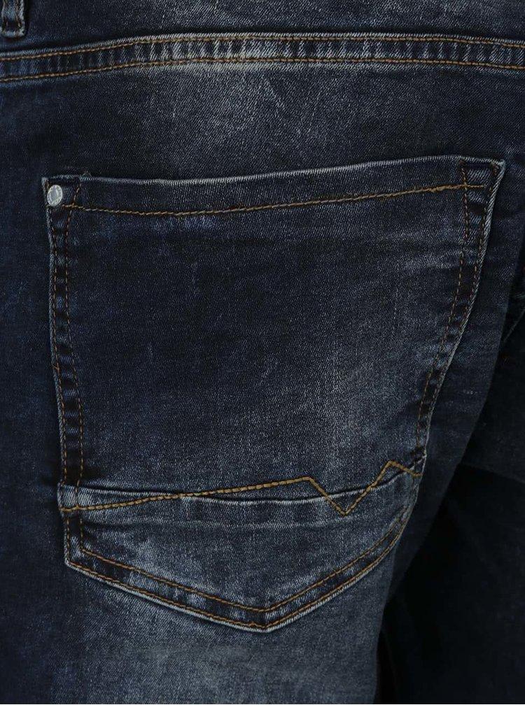 Blugi albastru inchis Blend slim fit cu aspect prespalat