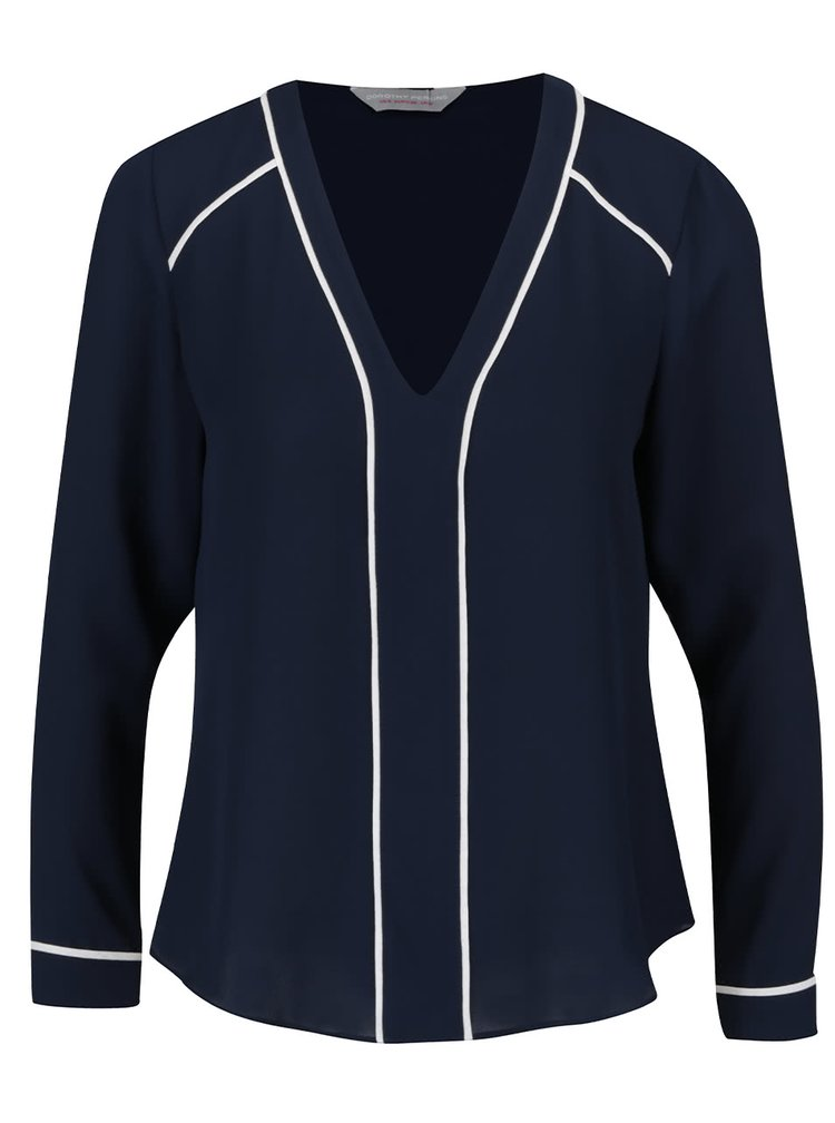 Bluză albastră Dorothy Perkins Petite cu detalii crem în contrast