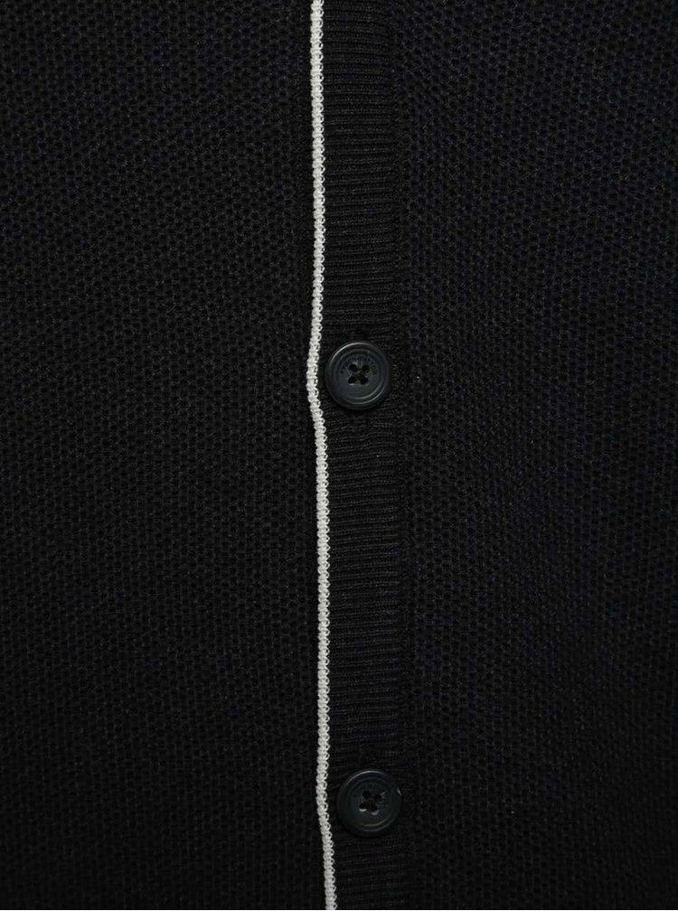 Cardigan negru Fynch-Hatton din bumbac cu logo