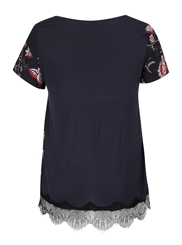 Tmavě modrá halenka s černým krajkovým lemem Dorothy Perkins Curve