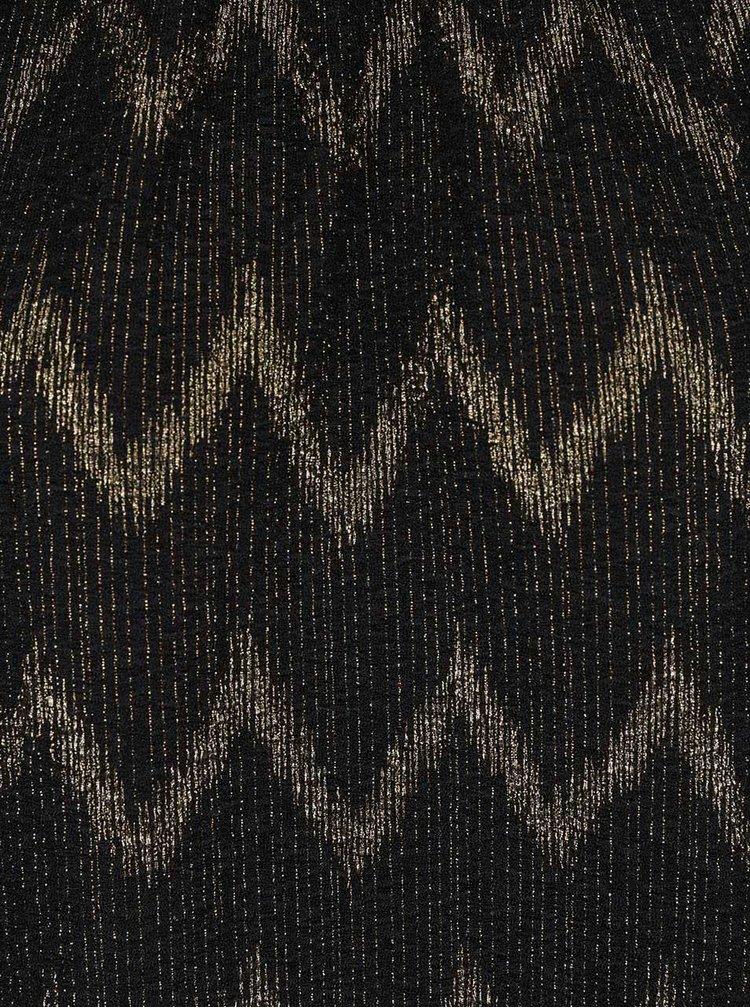 Černý top se vzorem ve zlaté barvě ONLY
