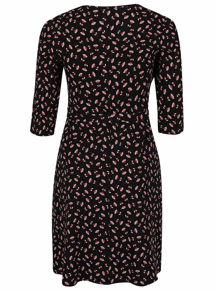 Černé vzorované šaty s překládaným dekoltem Dorothy Perkins Curve