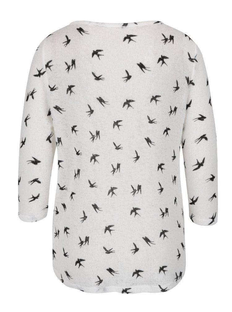 Krémové tričko s potiskem vlaštovek a 3/4 rukávem Haily's Diana