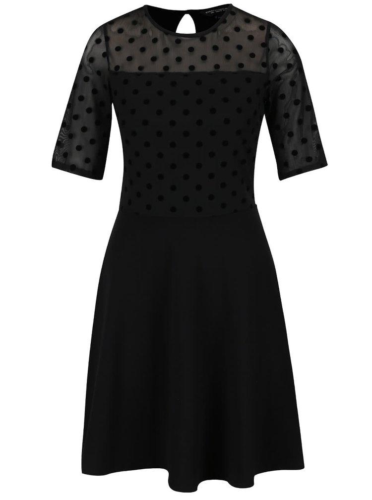 Černé šaty s puntíkovaným topem Dorothy Perkins