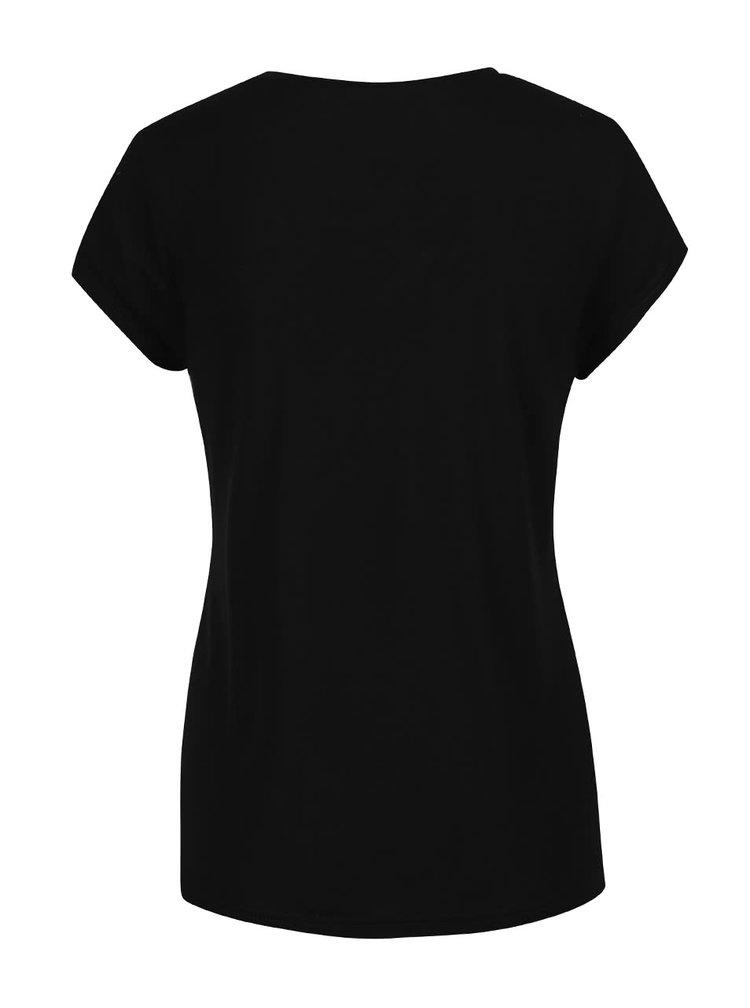 Černé tričko s potiskem Dorothy Perkins Petite