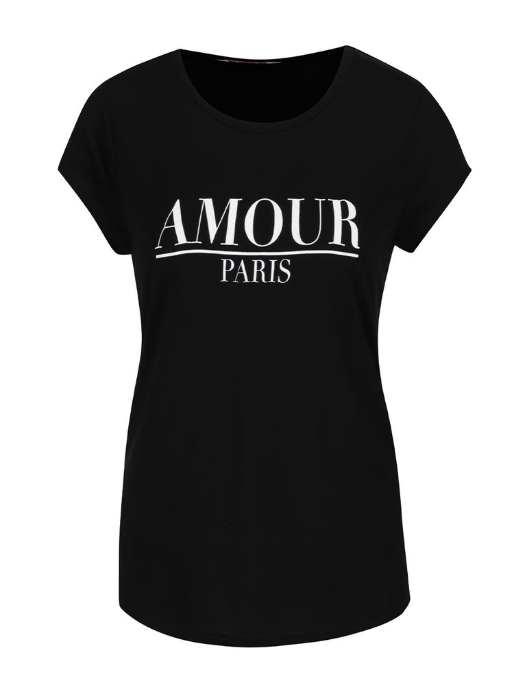 Tricou negru Dorothy Perkins Petite cu imprimeu text