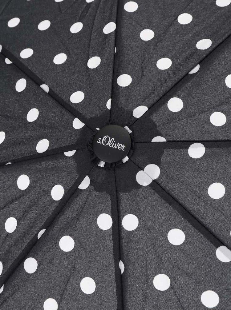 Černý dámský puntikovaný deštník s.Oliver