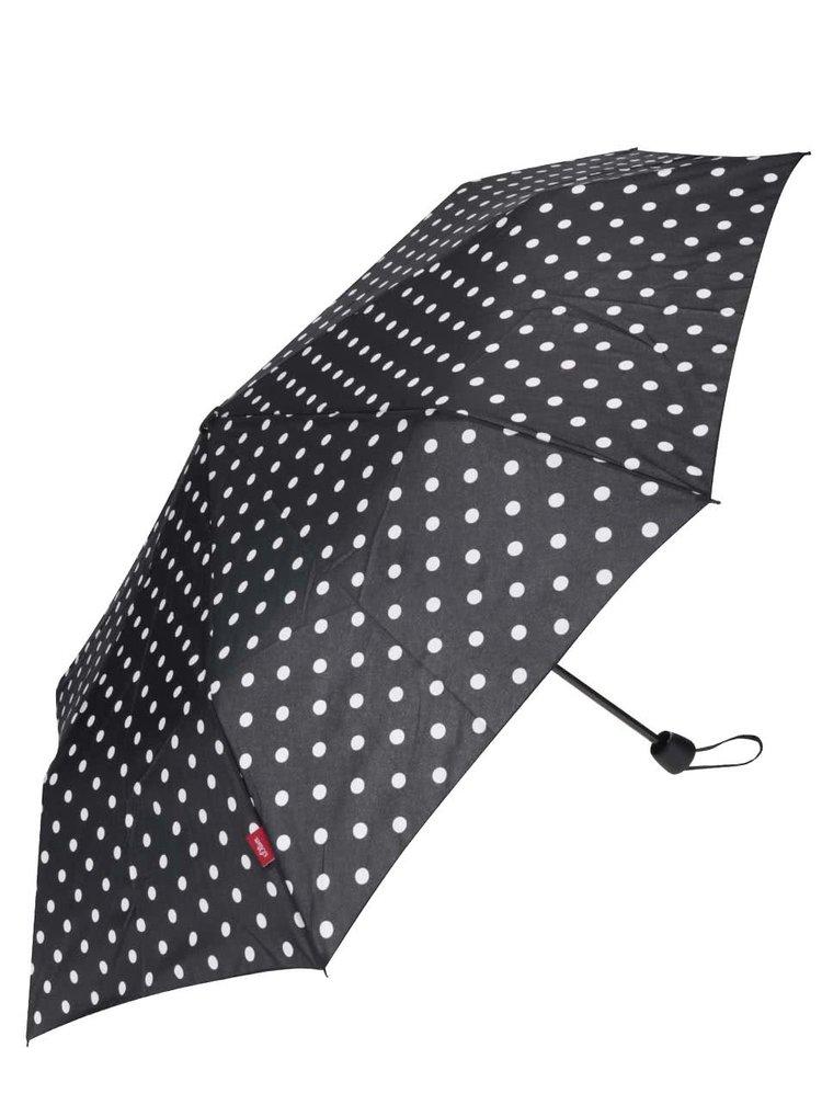 Černý puntíkovaný deštník s.Oliver
