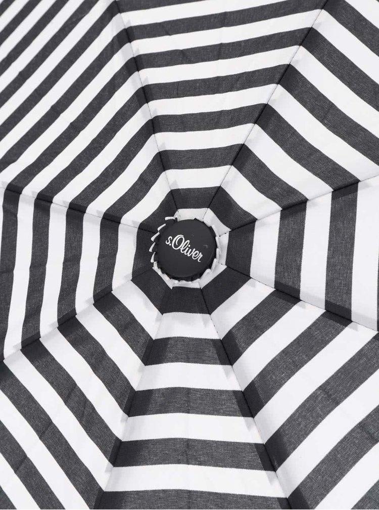 Umbrela negru cu crem s.Oliver in dungi