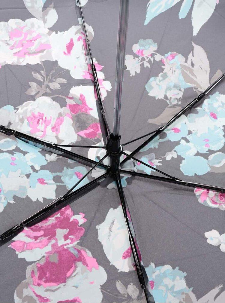 Umbrelă gri Tom Joule Brolly cu imprimeu floral