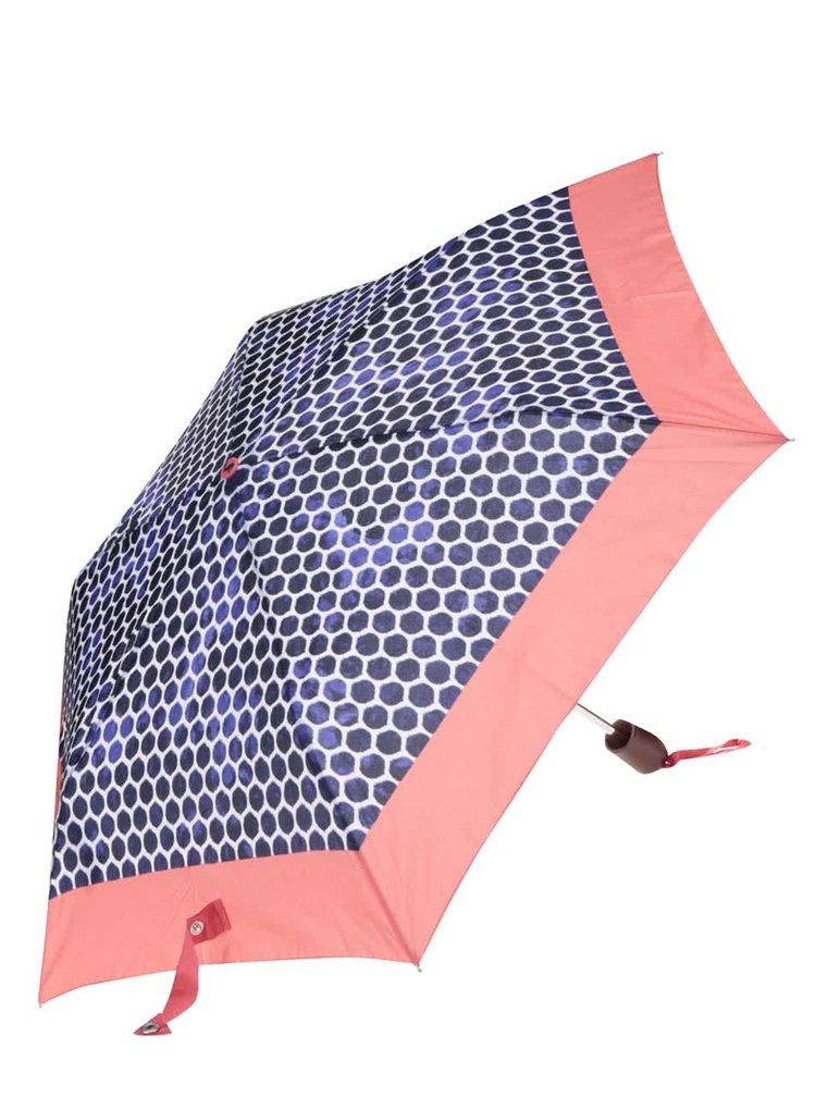 Růžovo-modrý deštník s puntíky Tom Joule Brolly