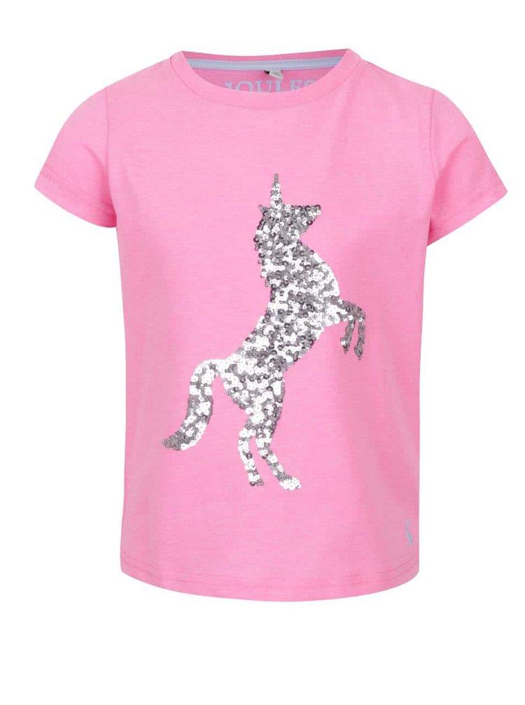 Tricou roz  de fete Tom Joule cu aplicație