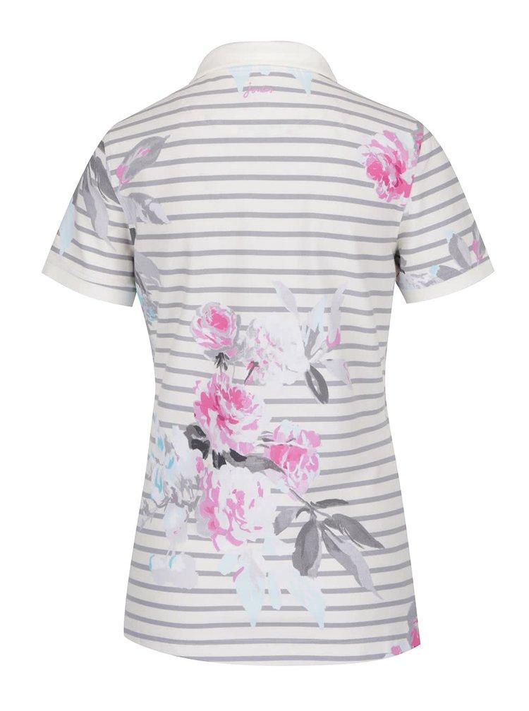 Tricou polo crem cu dungi si print floral Tom Joule Trinity