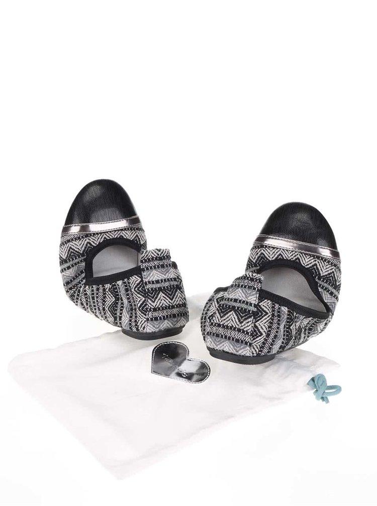Krémovo-šedé vzorované baleríny Tamaris