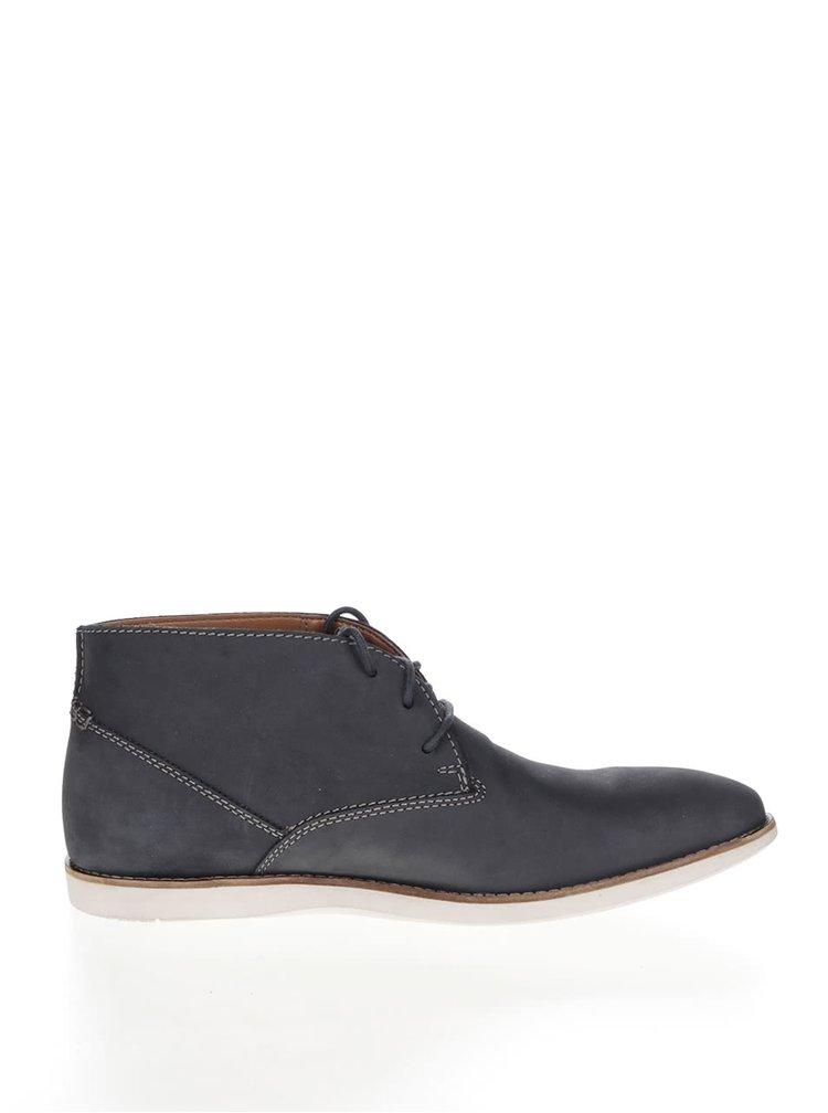 Modré pánské semišové kotníkové boty Clarks Franson Top