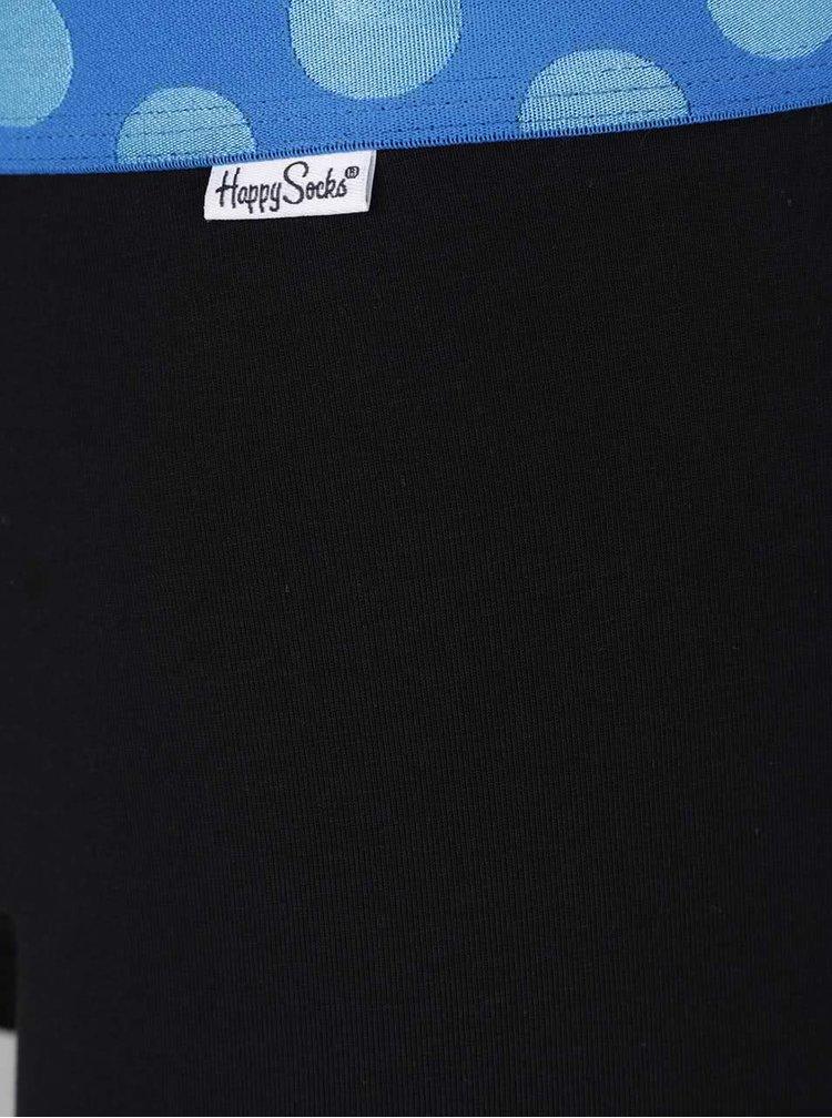Sada tří boxerek v černé barvě s barevnými lemy Happy Socks Contrast