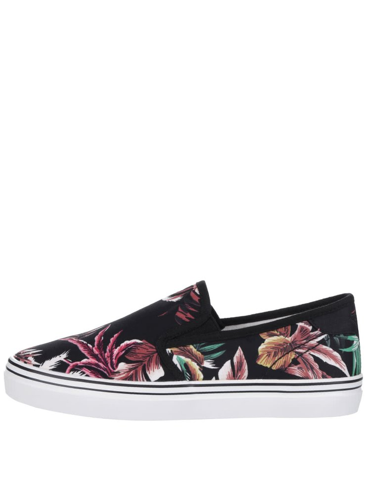 Tenisi slip on negri Tamaris cu model floral