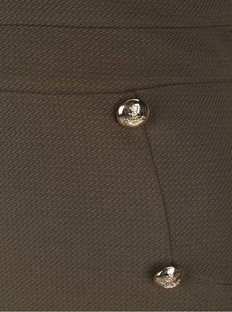 Khaki minišaty s knoflíky ve zlaté barvě Miss Selfridge