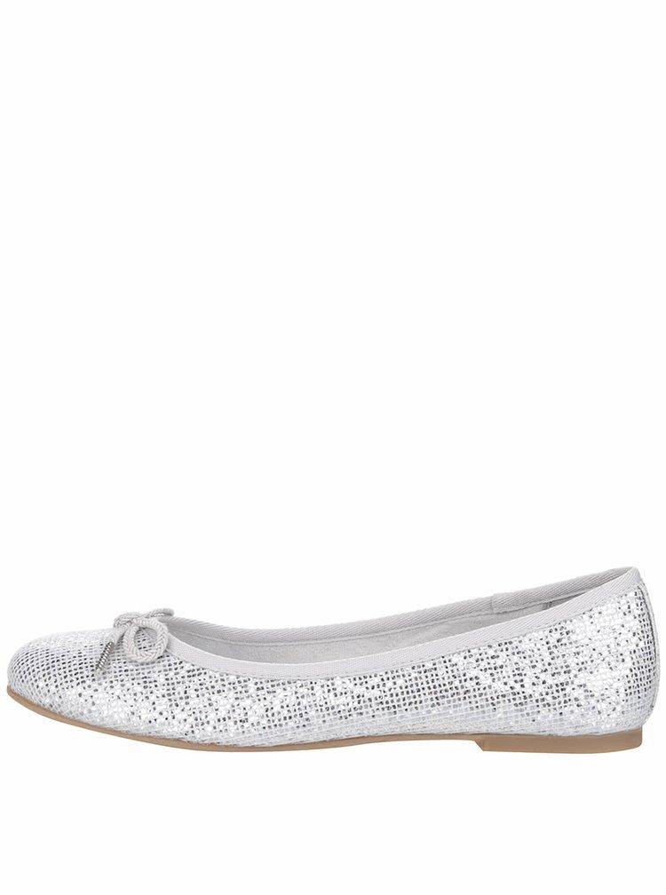 Balerini argintii Tamaris cu model și aspect peliculizat