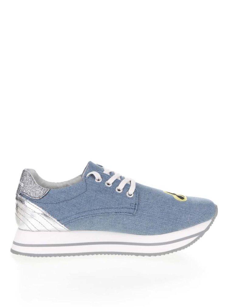 Pantofi sport albaștri Tamaris cu platformă și aplicații