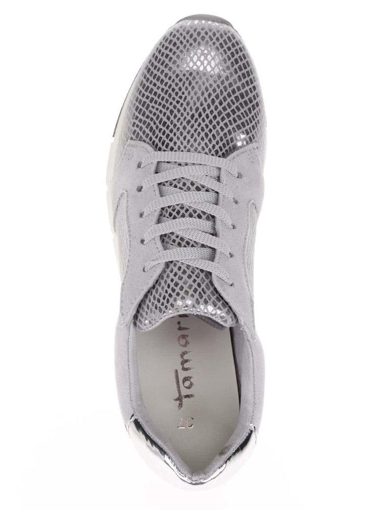 Lesklé tenisky ve stříbrné barvě Tamaris