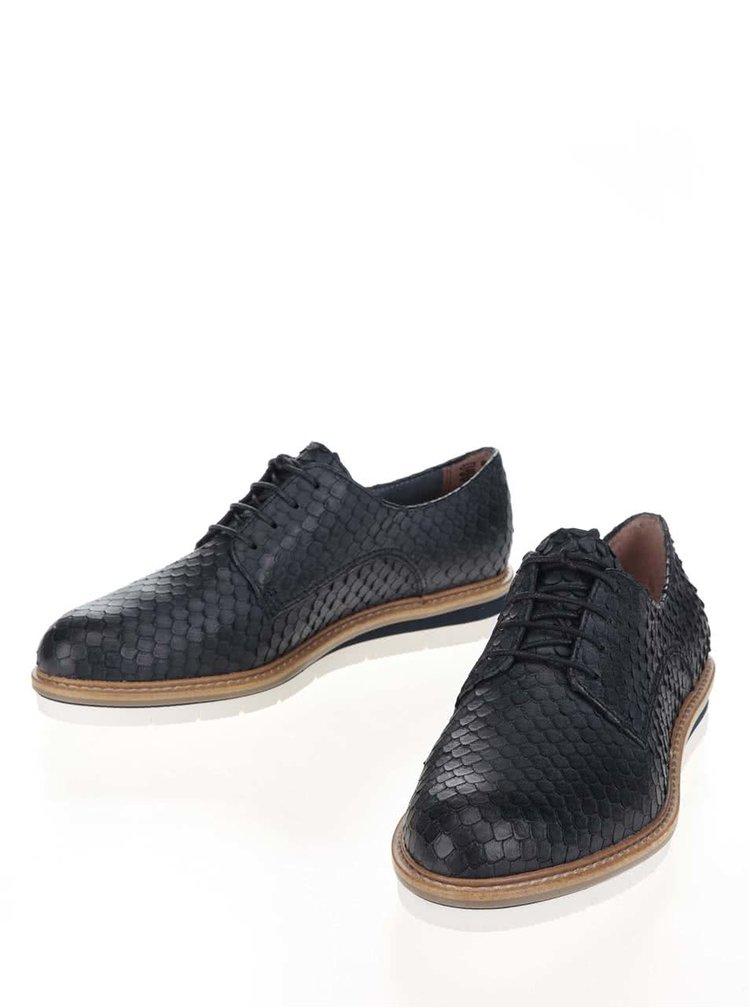 Pantofi bleumarin Tamaris din piele cu model