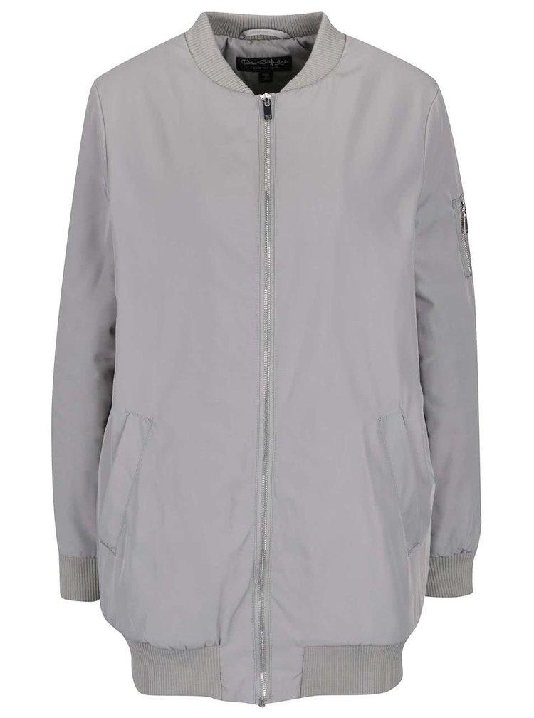 Jachetă bomber lungă gri Miss Selfridge