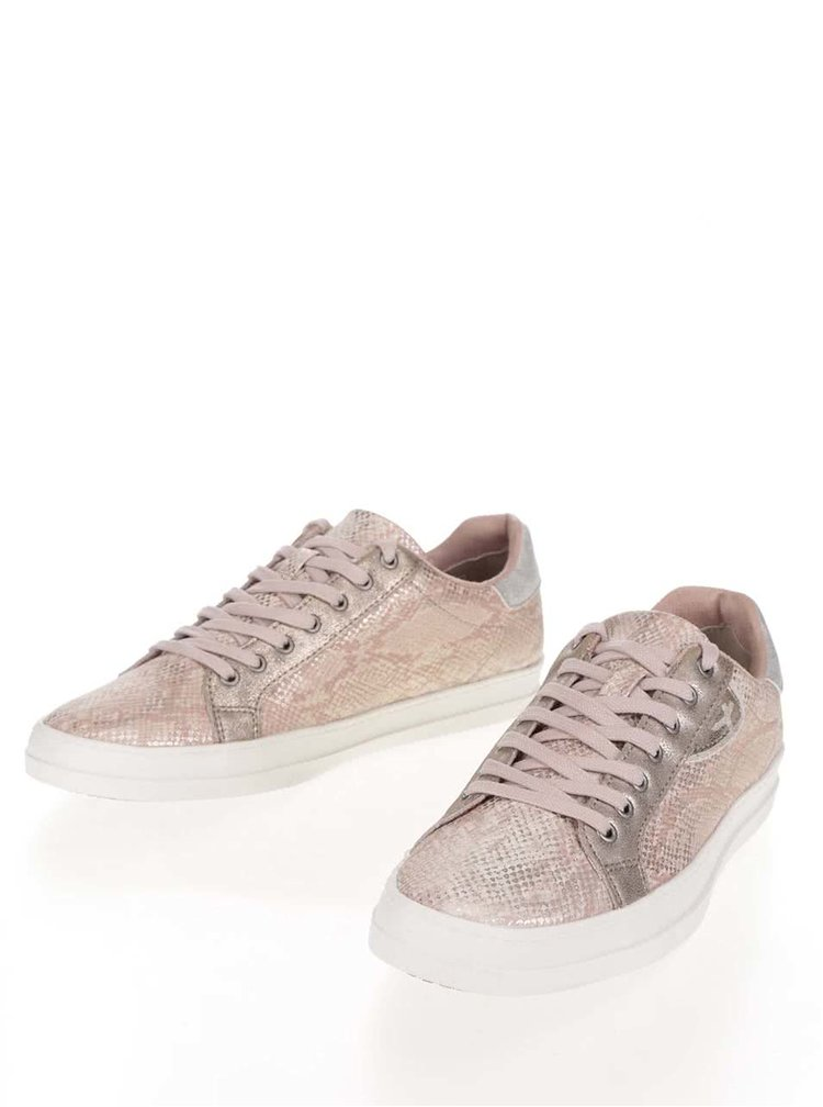 Pantofi sport roz Tamaris cu aspect peliculizat
