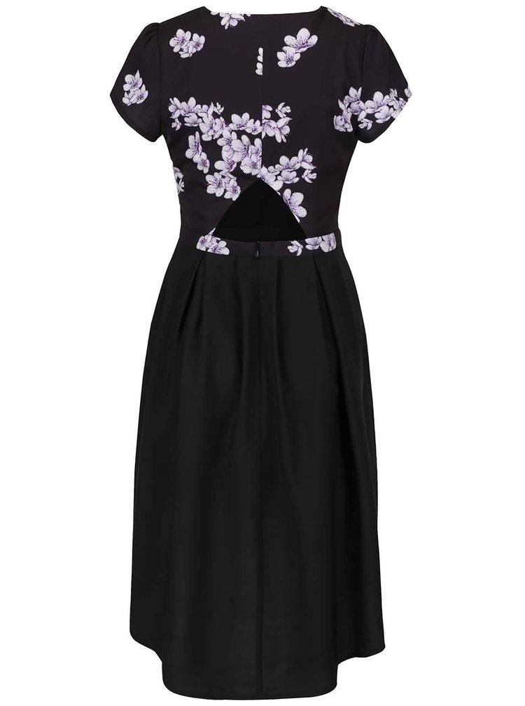 Rochie neagra Wolf&Whistle cu imprimeu floral