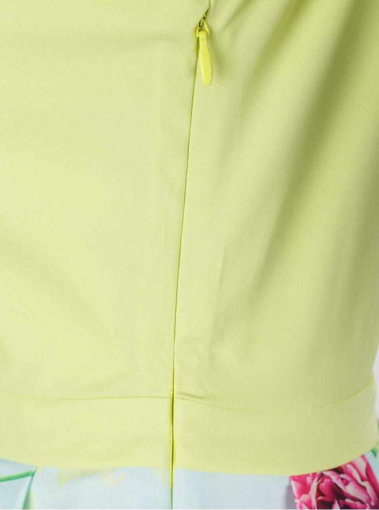 Modro-žluté květované šaty s prodlouženým zadním dílem Wolf & Whistle