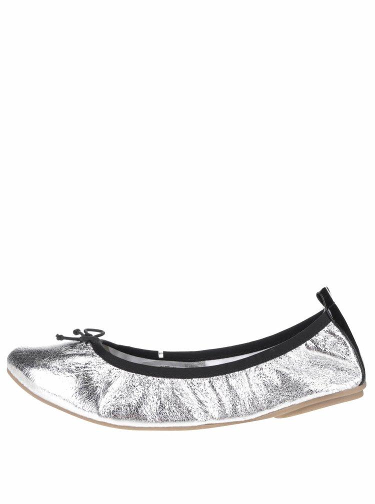 Baleríny ve stříbrné barvě s mašličkou Tamaris