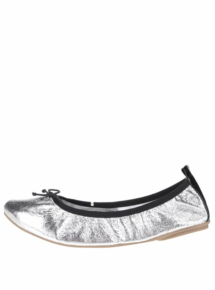 Balerini argintii Tamaris cu aspect peliculizat si detaliu