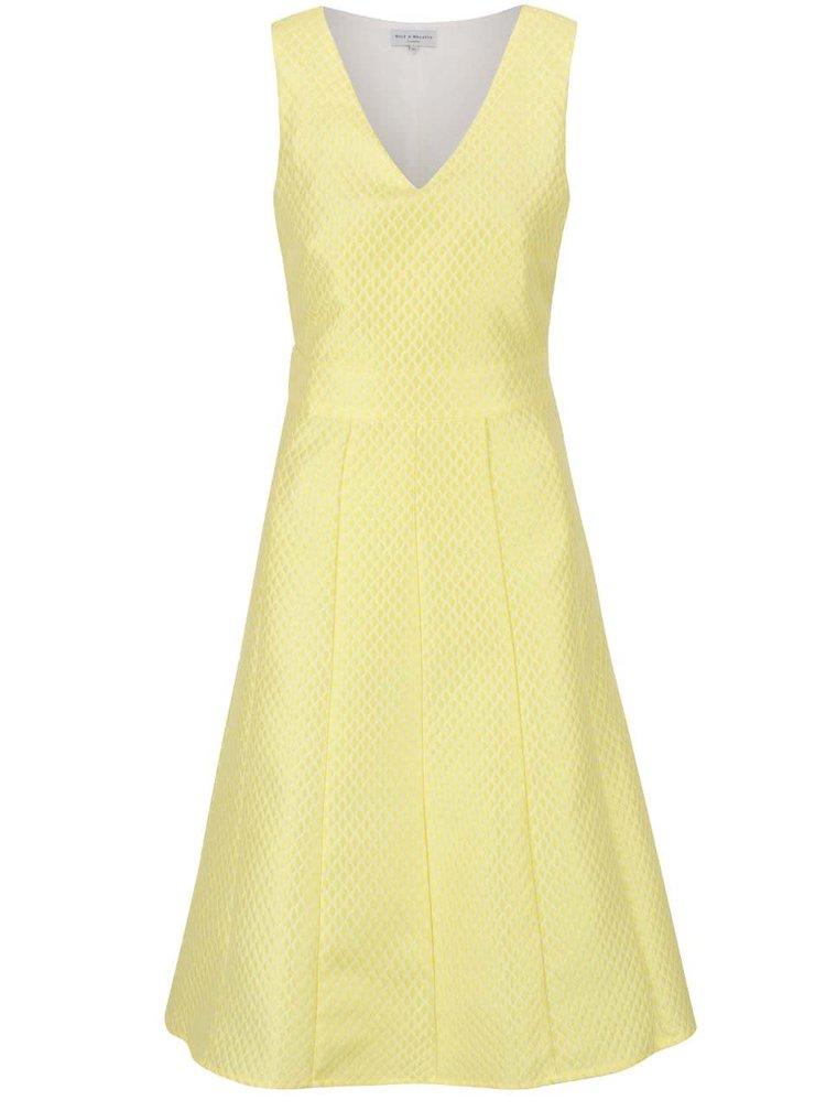 Žluté šaty s jemným vzorem Wolf & Whistle
