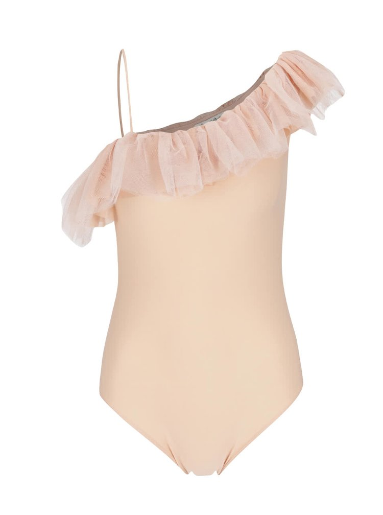 Body roz piersica Miss Selfridge cu volan din tulle