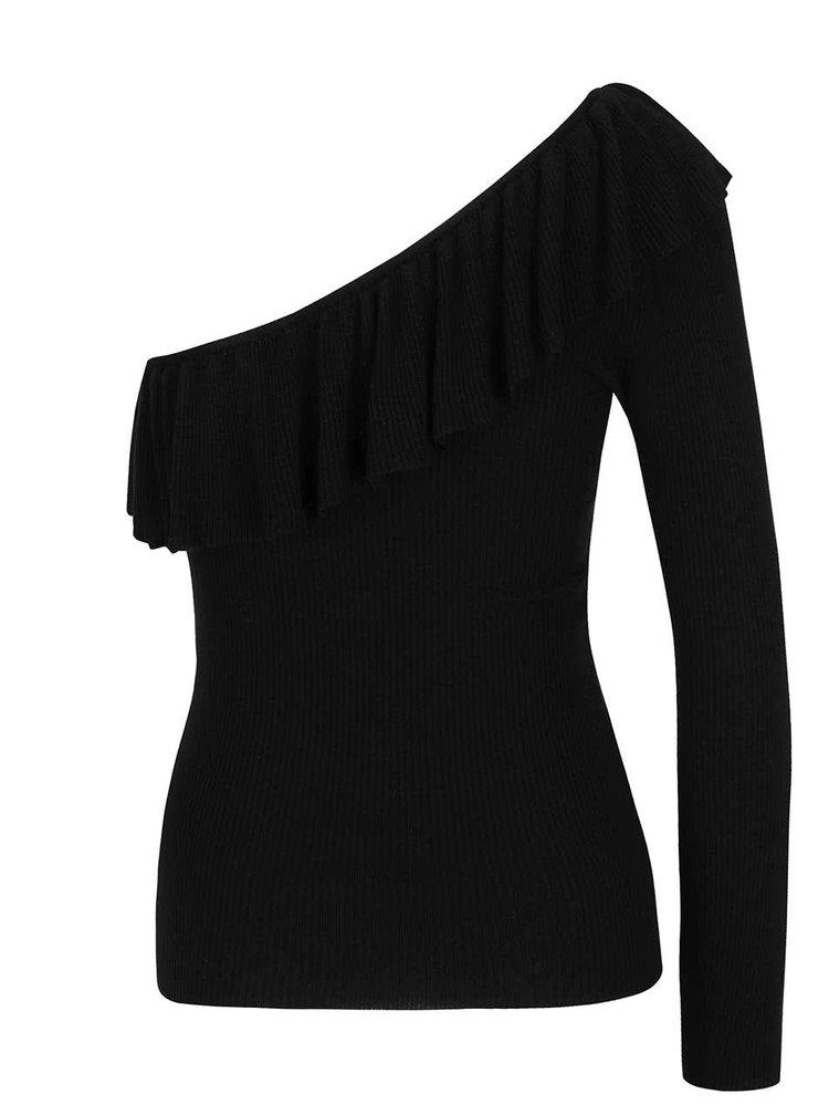 Černý žebrovaný svetr přes jedno rameno s volánem Miss Selfridge