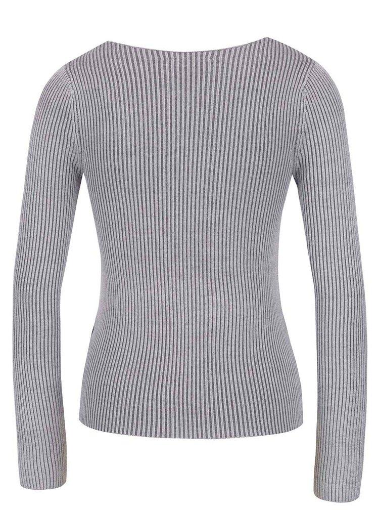 Šedý žebrovaný svetr s véčkovým výstřihem Miss Selfridge