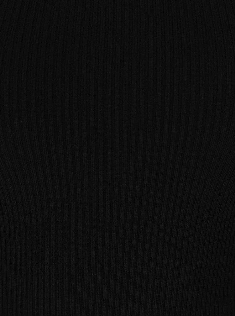 Bluza neagra din jerseu subtire Miss Selfridge cu decolteu pe umeri