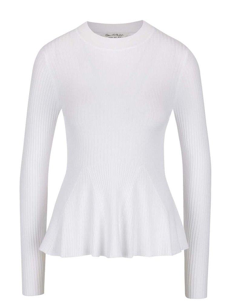 Bílý žebrovaný lehký svetr Miss Selfridge