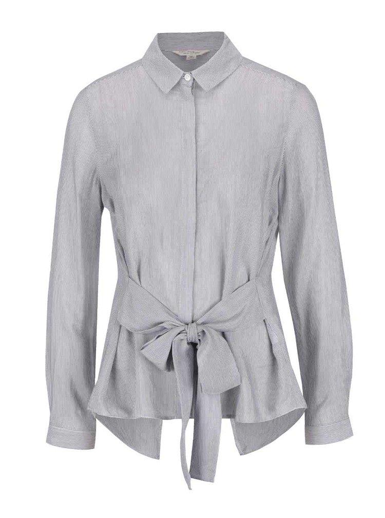Krémovo-šedá pruhovaná košile se zavazováním Miss Selfridge