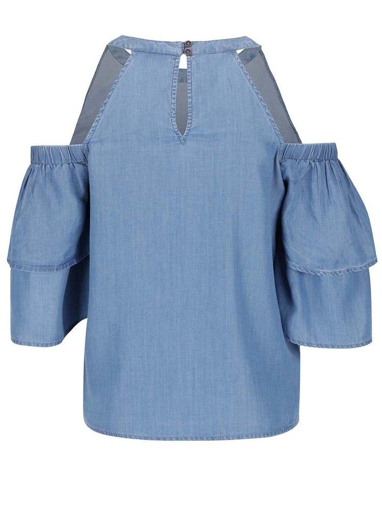 Modrý džínový top s průstřihy na ramenou Miss Selfridge