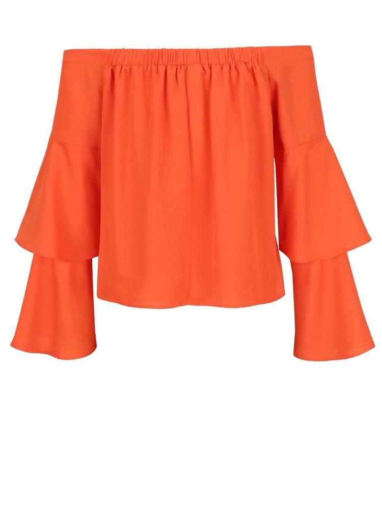 Oranžový crop top s volány Miss Selfridge