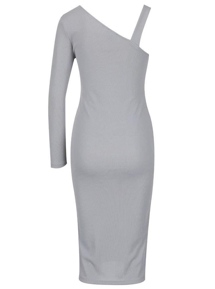 Světle šedé šaty přes jedno rameno s dlouhým rukávem Miss Selfridge