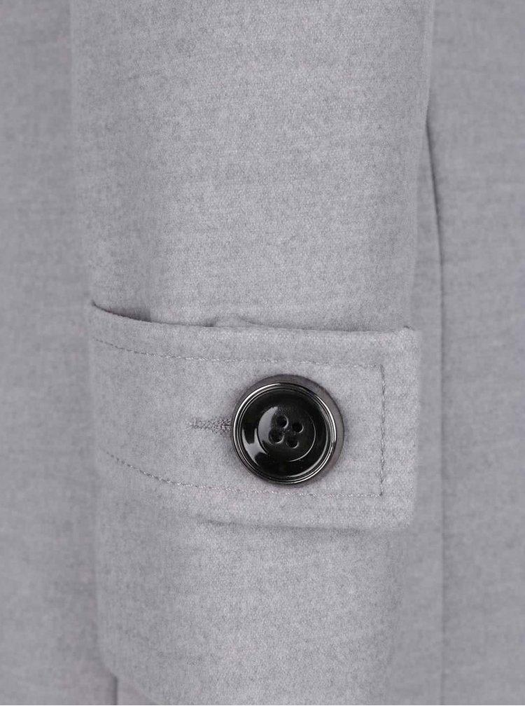 Světle šedý kabát Miss Selfridge